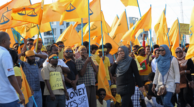 MDP supporters demonstrate at a rally in Male in February. (AFP)