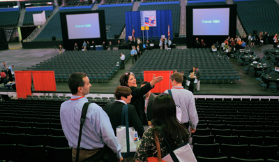 Members of the press get their first look at the site of the 2012 Republican National Convention in Tampa. Security zones have been established outside to ensure people's safety. (AP/Brian Blanco)