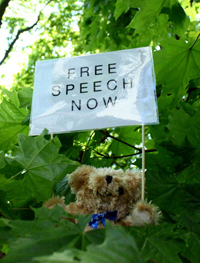 A teddy bear carrying messages of press freedom lands in a tree. (Studio Total)