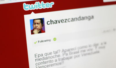 Hugo Chávez has more than 3 million followers on Twitter. (Reuters/Jorge Silva)