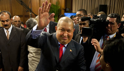 Hugo Chávez at a December 2011 press conference. (AP/Ariana Cubillos)