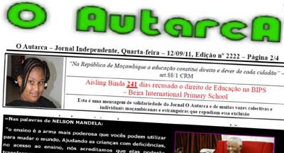 A primeira página de uma edição de O Autarca. (O Autarca)
