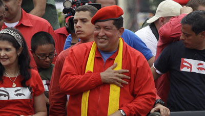 Hugo Chávez at a campaign rally in Maracay, Venezuela, on July 1. (AP/Ariana Cubillos)