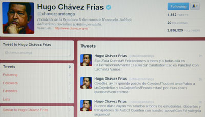 Chávez' Twitter page. (AFP/Juan Barreto)