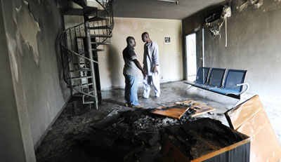 The offices of the Cyclone Media Group were attacked on Sunday. (AFP/Sia Kambou)