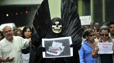 Journalists protest the murder of a Mexican journalist earlier this year. (AFP/Sergio Hernandez)