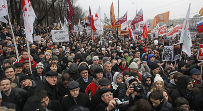 Thousands gathered in December 2011 to protest the alleged vote rigging in parliamentary elections. (AP/Alexander Zemlianichenko)