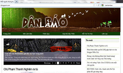 A screenshot of the home page for Danlambao, a collective blog recently singled out by Vietnam's prime minister as untruthful.