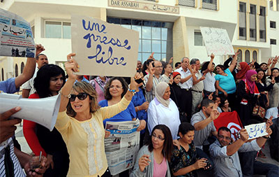 Tunisian journalists from Assabah call for more freedom at a protest in Tunis on September 11, 2012. (AFP/Khalil)