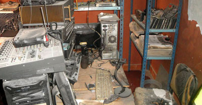Fernando Vidal was set on fire in the offices of his radio station, shown here. (AFP//Estaban Farfan)