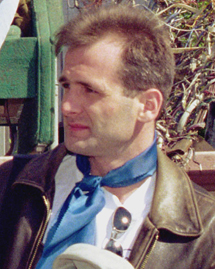 Georgy Gongadze, shown here the summer of 2000, was the first online journalist killed in retaliation for his work. (AFP/Dima Gavrish)