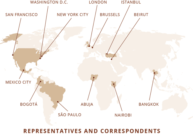 Map of where CPJ has offices and correspondents