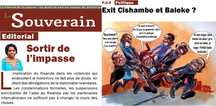 Solange Lusiku and Baudry Aluma have been threatened after running editorials in this October issue of Le Souverain. (Le Souverain)