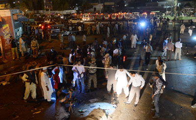 Several journalists were reported injured at this explosion near a Shia site in Karachi today. (AFP/Asif Hassan)