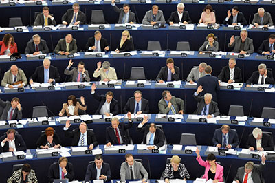 Members of the European Parliament take part in a voting session in Strasbourg, France, on June 13, 2012. (AFP/Frederick Florin)