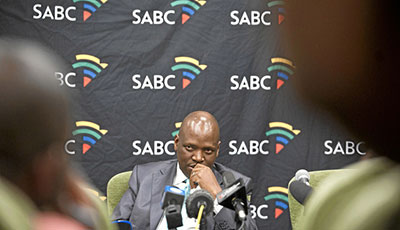 SABC acting Chief Operating Officer Hlaudi Motsoeneng answers questions about censorship at the broadcaster on December 6. (Madelene Cronjé/MG)
