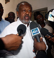 Djibouti President Ismael Omar Guelleh addresses the media after his re-election in April 2011. (AP)