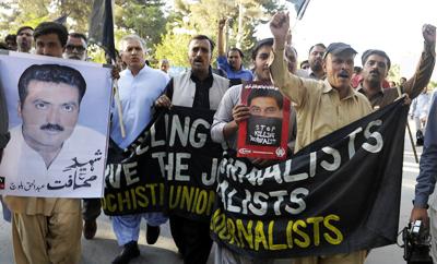 Pakistani journalists protest the murder of Abdul Haq Baloch, a TV reporter killed in Baluchistan. (AFP/Banaras Khan)
