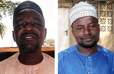 Musa Muhammad Awwal, left, and Aliyu Saleh were held illegally for more than one week. (Al-Mizan)