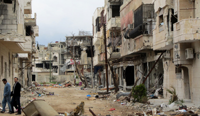 The Baba Amr district of Homs in March 2011. (AFP/Shaam News Network)