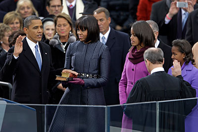 President Barack Obama receives the oath of office on Monday. His legacy on transparency is still open to debate. (AP/Carolyn Kaster)