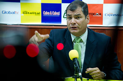 The government of Ecuadoran President Rafael Correa has pre-empted more than eight days worth of air time with mandatory broadcasts. (Reuters/Guillermo Granja)