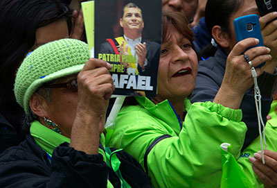 Supporters of President Rafael Correa attend a political rally in Quito, Ecuador, on February 9. (Reuters/Guillermo Granja)