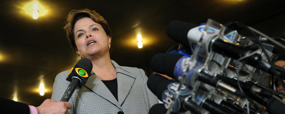 President Dilma Rousseff has tried to play down the dangers that Brazilian journalists face. (AFP/Yasuyoshi Chiba)