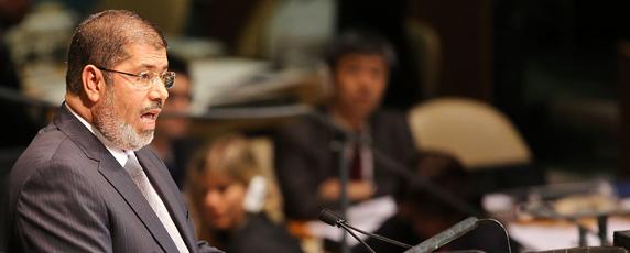 Egyptian President Mohamed Morsi addresses world leaders at the United Nations. (AFP/Spencer Platt)