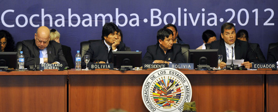 Heads of state, including Ecuador's Correa and Bolivia's Morales, at the 42nd general assembly of the Organization of American States in Bolivia. (AFP/Aizar Raldes)