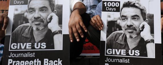 Prageeth Eknelygoda has been missing since 2010. (AFP/Lakruwan Wannirachchi)
