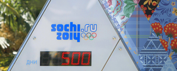 A clock counts down to the 2014 Olympics in Russia. (AP/Igor Yakunin)