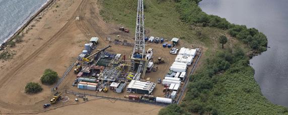 Une vue aérienne d'un site de forage pétrolier à Buliisa, en Ouganda. (AFP/Tullow Oil Uganda)