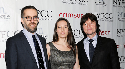 """The Central Park Five"" co-directors David McMahon, Sarah Burns,and Ken Burns at the New York Film Critics Circle awards dinner in early January. (AP/Evan Agostini)"