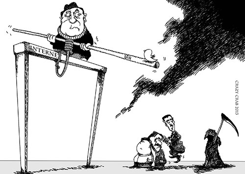 'S.I.C.K. Great Firewall Seminar.' As China's leaders walk a tightrope between promoting Internet development and maintaining control, social media such as Twitter threaten to throw them off balance. The leaders of North Korea, Iran, and Syria observe and admire even while threatened with their own demise. (Hexie Farm/Crazy Crab)