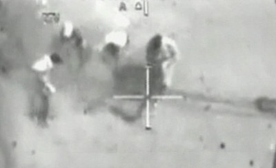 A still from a classified U.S. military video showing Iraqi journalists under fire from a U.S. Apache helicopter in 2007. Two Reuters journalists were killed. (Reuters/WikiLeaks)