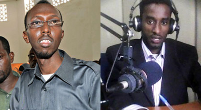 This week in Mogadishu, Abdiaziz Abdinuur, left was freed from prison, but Mohamed Ali Nuxurkey was killed in a bombing that injured three other journalists. (AFP, Raxanreeb)