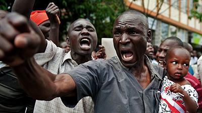 A supporter of Raila Odinga, a presidential candidate who was defeated last week by Uhura Kenyatta. (AFP/Jennifer Huxta)