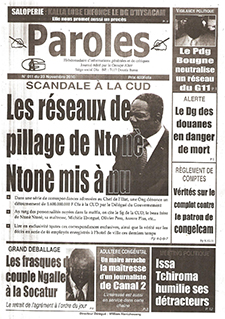 "A November 2010 issue of Paroles features a story, seen bottom left, called ""The antics of the couple Ngalle, from Socatur."" (Paroles)"