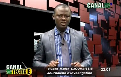 The National Communications Council suspended Ruben Malick Djoumbissie, host of Canal 2tective, for three months. The investigative TV show has been banned indefinitely. (Canal 2 International)