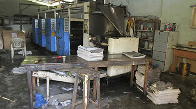 The offices of the Sri Lankan daily Uthayan after the attack. (AP/Marythas Newtan)