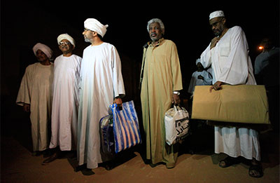Political prisoners leave Kober Prison in Khartoum on April 2. President Omar Hassan al-Bashir's call to release political prisoners and launch dialogue with the opposition coincided with a return to pre-publication censorship. (Reuters/Mohamed Nureldin Abdallah