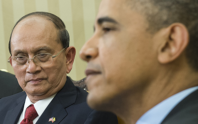 U.S. President Barack Obama and President Thein Sein of Burma meet in the White House. (AFP/Saul Loeb)