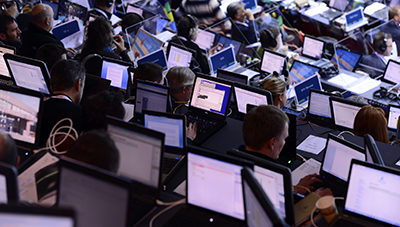 As the pace of technological innovation increases, several groups try to ensure journalists are offered tips on digital security. (AFP/Jonathan Nackstrand)