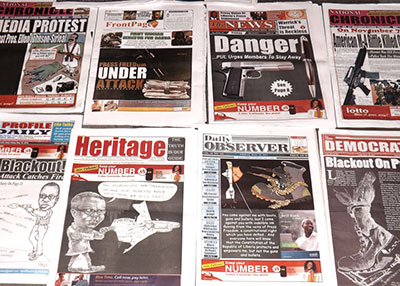 Liberian newspapers protest threatening remarks by President Ellen Johnson Sirleaf's security chief. (Wade Williams/FrontPage Africa)