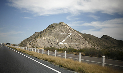 """The letter """"Z,"""" painted on a hill in the state of Coahuila, refers to the Zetas drug cartel. (Reuters/Tomas Bravo)"""