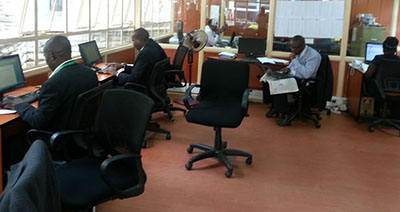 Journalists use the media center to file stories on parliamentary proceedings. (Alphonce Shiundu)