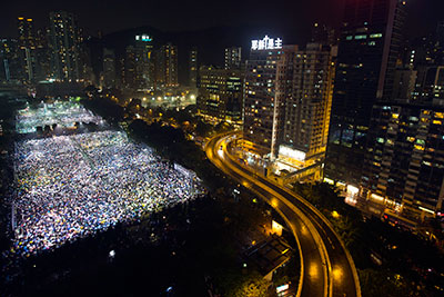 Tens of thousand of people commemorate the 1989 Tiananmen Square crackdown in Hong Kong's Victoria Park. (Reuters/Tyrone Siu)