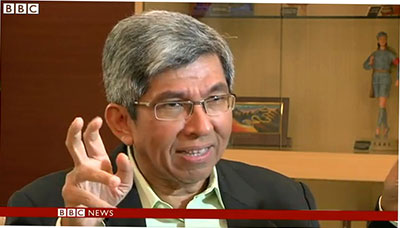 This screenshot shows Singapore Minister of Communications and Information Yaacob Ibrahim telling a BBC interviewer that new license regulations will ensure users see the 'right' content online. (BBC)