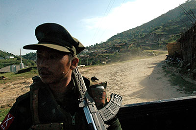 The military has pressured local newspapers in connection with their Kachin war coverage. (AFP/Patrick Bodenham)
